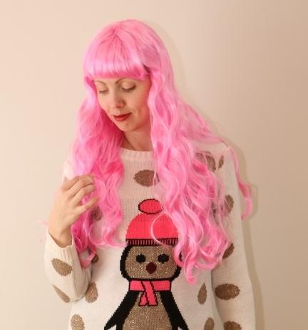 Tukaga, pikajuukseline, roosa parukas